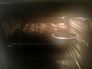 oven with cupcakes